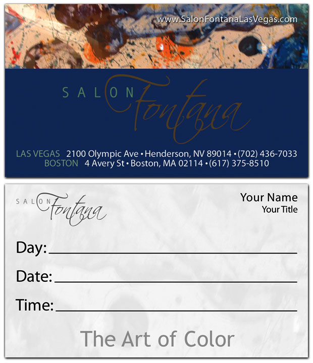 Best quality printing salon fontana business cards are printed on salon fontana business cards reheart Gallery