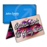 "4"" x 3.5"" Fold Over Business Cards 14PT Heavy Cardstock Outside Full UV, Inside No Coating"