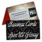 "4"" x 3.5"" Fold Over Business Cards 14PT Heavy Cardstock Outside Spot UV, Inside No Coating"
