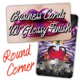 Round Corner Business Cards 14PT or 16PT Extra Heavy Cardstock One Side Full UV, One No Coating
