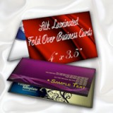 "3.5"" x 4"" Fold Over Silk Laminated Business Cards - Extra Heavy Card Stock  with Spot UV on One Side"