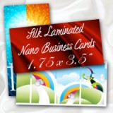 "1.75"" x 3.5"" Silk Laminated Nano Business Cards 16PT Extra Heavy Card Stock with Spot UV on One Side"