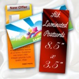 "8.5"" x 3.5"" Silk Laminated Postcards - Extra Heavy Card Stock with Spot UV on One Side"