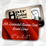"2"" x 3.5"" Silk Laminated Round Corner Business Cards - Extra Heavy Card Stock with Spot UV on One Side"