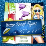 "4.25"" x 11"" Water Proof Flyers 10PT Heavy Weight Paper"