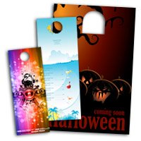 "4.25"" X 11"" Die Cut Door Hangers 14PT or 16PT Extra Heavy Cardstock UV Glossy Finish"