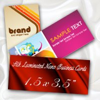 "1.5"" x 3.5"" Silk Laminated Nano Business Cards 16PT Extra Heavy Card Stock with Spot UV on One Side"